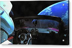 Dont Panic - Tesla In Space Acrylic Print