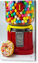 Donut And Bubblegum Machine Acrylic Print by Garry Gay