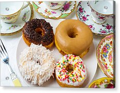 Donuts And Tea Cups Acrylic Print by Garry Gay