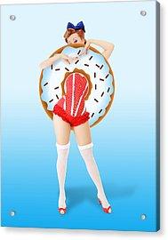 Donuts Woman Acrylic Print by Mark Ashkenazi