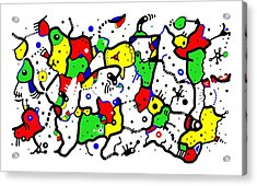 Doodle Abstract Acrylic Print by Marv Vandehey