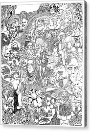 Acrylic Print featuring the drawing Doodle Art 1987 by Steve  Hester
