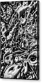 Acrylic Print featuring the digital art Doodle Emboss by Darren Cannell