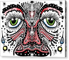 Acrylic Print featuring the digital art Doodle Face by Darren Cannell