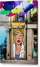 Door No 73 And The Floating Umbrellas Acrylic Print by Marco Oliveira