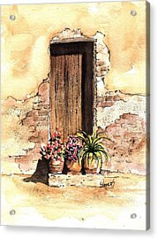 Door With Flowers Acrylic Print by Sam Sidders