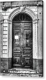 Doors Of Cuba Green Door Bw Acrylic Print by Wayne Moran