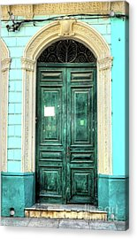 Doors Of Cuba Green Door Acrylic Print by Wayne Moran