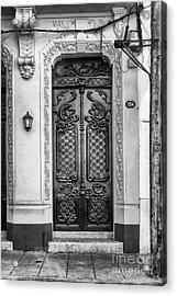 Doors Of Cuba Yellow Door Bw Acrylic Print by Wayne Moran