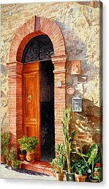 Doorway In Tuscany Number 2 Acrylic Print by Bob Nolin