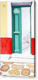 Doorway To Mykonos - Prints Of Original Oil Painting Acrylic Print