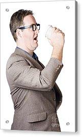 Dork Man Consuming Hot Drink In Haste. Coffee Rush Acrylic Print
