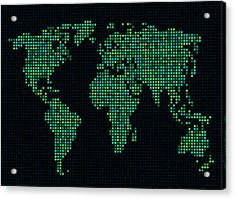 Dot Map Of The World - Green Acrylic Print by Michael Tompsett