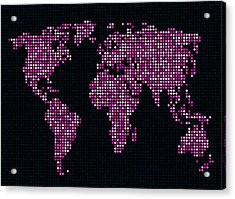 Dot Map Of The World - Pink Acrylic Print by Michael Tompsett