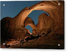 Double Arch And The Milky Way - Arches National Park - Moab, Utah. Acrylic Print