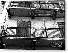 Double Balconies In Panama City Mono Acrylic Print by John Rizzuto