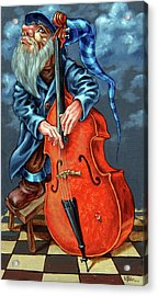 Double Bass And Bench Acrylic Print