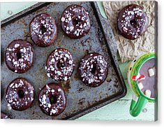 Double Chocolate Peppermint Iced Donuts Acrylic Print