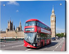 Double-decker Bus Moving On Westminster Acrylic Print by Panoramic Images