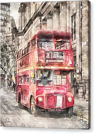 Double-decker Red Bus Of London Acrylic Print by Shirley Stalter