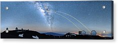 Double Lasers With The Milky Way Panorama Acrylic Print