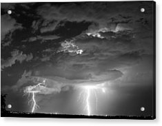 Double Lightning Strikes In Black And White Acrylic Print by James BO  Insogna