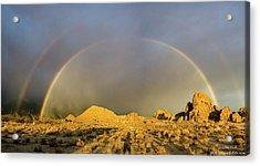 Double Rainbow Gold Acrylic Print
