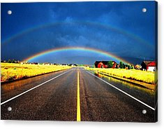 Double Rainbow Over A Road Acrylic Print