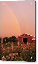 Double Rainbow Over Red Barn Acrylic Print by John Burk
