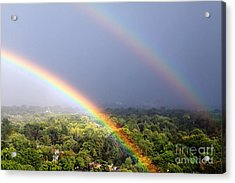 Double Rainbows Acrylic Print by Charline Xia
