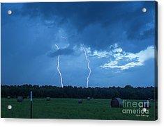Double Trouble Dusk Thunderstorm Lightning Weather Art Acrylic Print