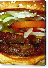 Double Whopper With Cheese And The Works - Painterly Acrylic Print by Wingsdomain Art and Photography