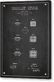 Doublet Stone Patent From 1873 - Charcoal Acrylic Print