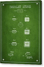Doublet Stone Patent From 1873 - Green Acrylic Print