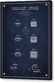 Doublet Stone Patent From 1873 - Navy Blue Acrylic Print