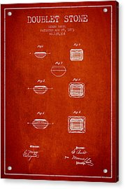 Doublet Stone Patent From 1873 - Red Acrylic Print