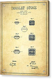 Doublet Stone Patent From 1873 - Vintage Acrylic Print