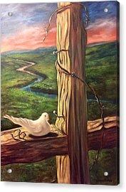 Acrylic Print featuring the painting Dove On A Cross  Paloma  En Una Druz by Randol Burns