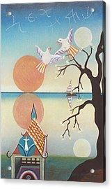 Doves With Sun Acrylic Print by Sally Appleby