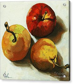 Down On Fruit - Pears And Apple Still Life Acrylic Print