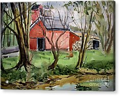 Acrylic Print featuring the painting Down On Pipe Creek Plein Air Matted Glassed Framed by Charlie Spear