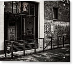 Acrylic Print featuring the photograph Down To The Barber Shop In Black And White by Greg Mimbs