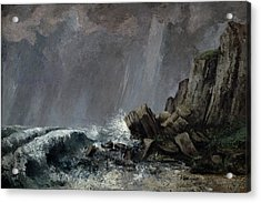 Downpour At Etretat  Acrylic Print by Gustave Courbet