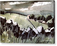Acrylic Print featuring the painting Downpour In Gayle Uk by Charlie Spear