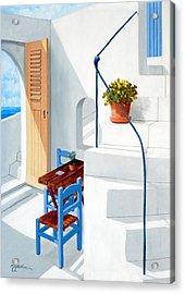 Downstairs In Santorini - Prints Of Original Oil Painting Acrylic Print