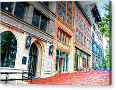Downtown Asheville City Street Scene II Painted Acrylic Print