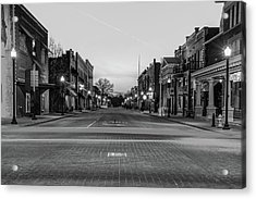Downtown Bentonville Arkansas Skyline In Black And White Acrylic Print