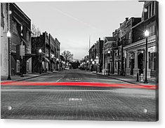 Downtown Bentonville Arkansas Skyline With Red Light Trails Acrylic Print