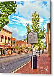 Downtown Blacksburg With Historical Marker Acrylic Print
