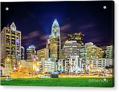 Downtown Charlotte North Carolina City At Night Acrylic Print by Paul Velgos